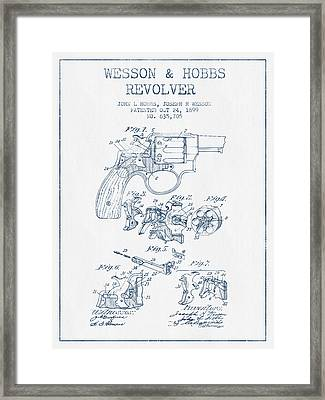 Wesson Hobbs Revolver Patent Drawing From 1899 -  Blue Ink Framed Print by Aged Pixel