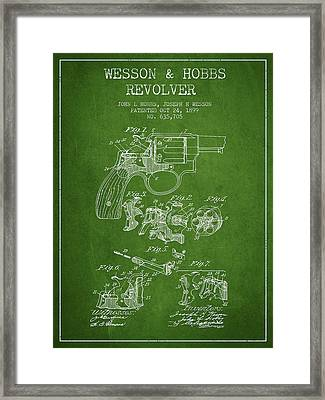 Wesson Hobbs Revolver Patent Drawing From 1899 - Green Framed Print by Aged Pixel