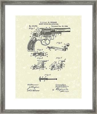 Wesson Revolver 1896 Patent Art Framed Print by Prior Art Design