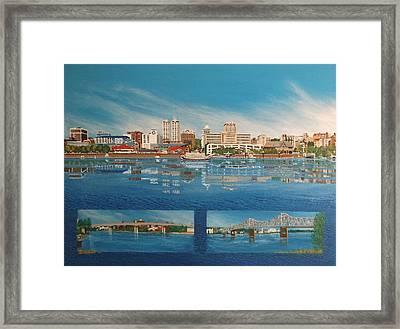 West Peoria Between Two Bridges Framed Print by Joni Waybright