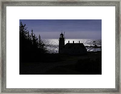 West Quoddy Head Light Station In Silhouette Framed Print by Marty Saccone