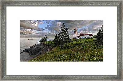 West Quoddy Head Lighthouse Panorama Framed Print by Marty Saccone