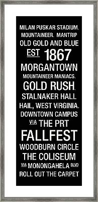 West Virginia College Town Wall Art Framed Print by Replay Photos