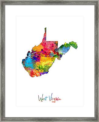 West Virginia Map Framed Print by Michael Tompsett