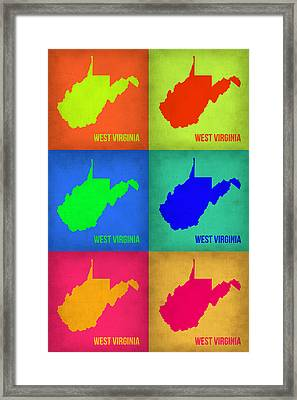 West Virginia Pop Art Map 1 Framed Print by Naxart Studio