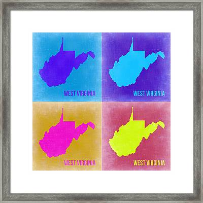 West Virginia Pop Art Map 2 Framed Print by Naxart Studio
