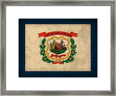 West Virginia State Flag Art On Worn Canvas Framed Print by Design Turnpike