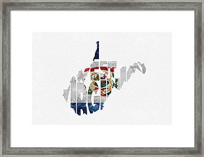 West Virginia Typographic Map Flag Framed Print by Ayse Deniz