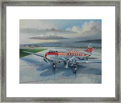 Western Airlines Dc-3 Framed Print by Stuart Swartz