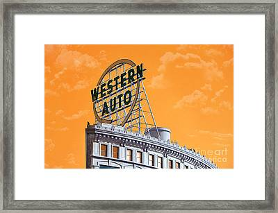 Western Auto Sign Artistic Sky Framed Print by Andee Design