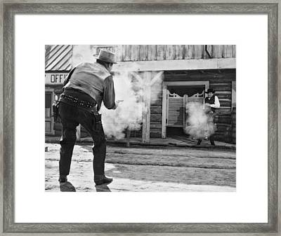 Western Film Shootout Framed Print by Underwood Archives