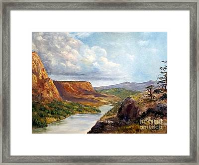 Western River Canyon Framed Print by Lee Piper