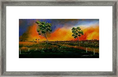 Western Sunset Framed Print by Sandra Sengstock-Miller