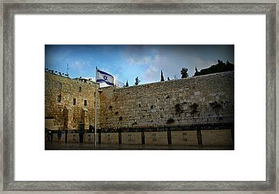 Western Wall And Israeli Flag Framed Print by Stephen Stookey