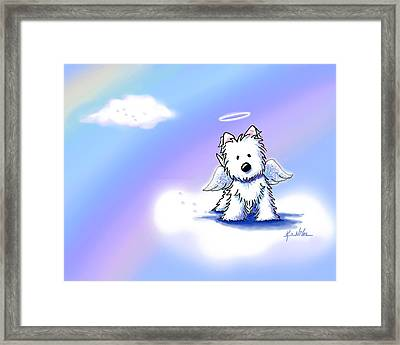 Westie Angel At Rainbow Bridge Framed Print by Kim Niles
