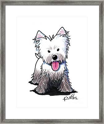Westie Muddy Westie Framed Print by Kim Niles