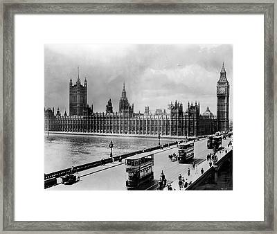 Westminster Bridge And Parliament Framed Print by Library Of Congress