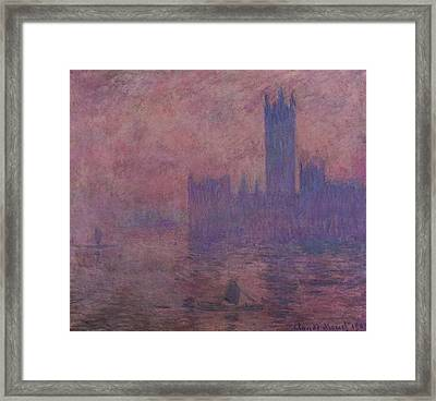 Westminster Tower Framed Print by Claude Monet