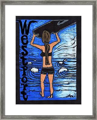 Westport Surfer Chick Framed Print by Lyn Hayes