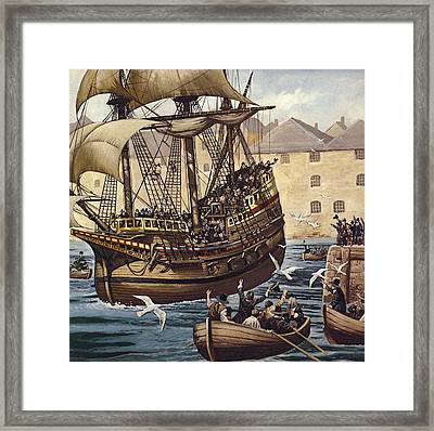 Westward Ho  The Mayflower Leaves Plymouth Framed Print by Mike White