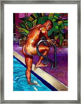 Wet From The Pool Framed Print by Douglas Simonson