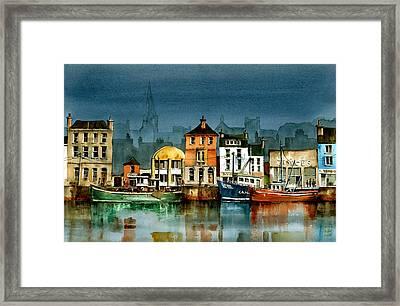 Wexford Quayside Framed Print by Val Byrne