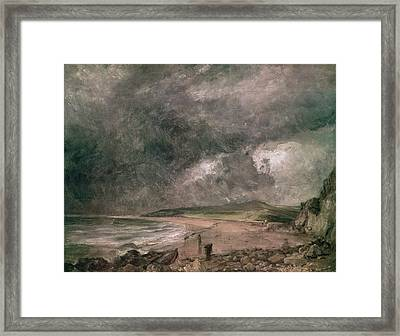 Weymouth Bay With Approaching Storm Oil On Canvas Framed Print by John Constable
