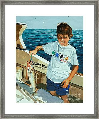 What A Catch Framed Print by Barbara Jewell