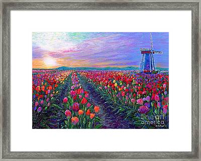 Tulip Fields, What Dreams May Come Framed Print by Jane Small