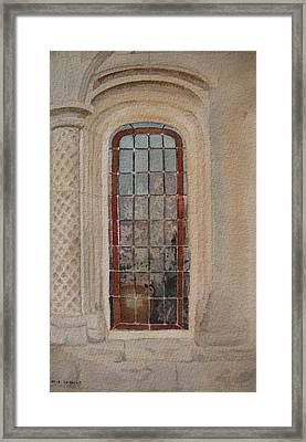 What Is Behind The Window Pane Framed Print by Mary Ellen Mueller Legault