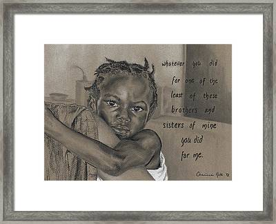 Whatever You Did Framed Print by Charissa Nolt
