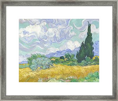 Wheat Field With Cypresses Framed Print by Georgia Fowler