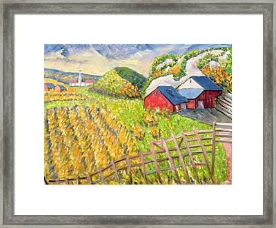 Wheat Harvest Kamouraska Quebec Framed Print by Patricia Eyre