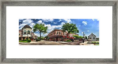 Wheaton Front Street Panorama Framed Print by Christopher Arndt