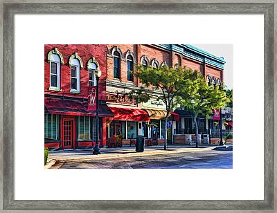 Wheaton Front Street Store Fronts Framed Print by Christopher Arndt