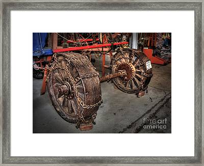 Wheels Of Old Steam Wagon Framed Print by Kaye Menner