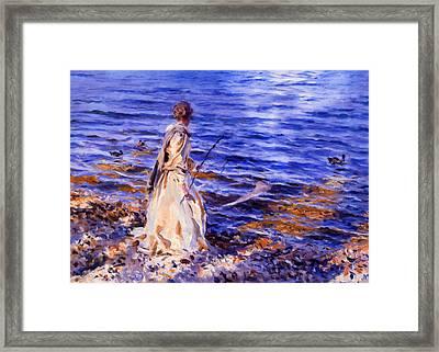 When A Woman Goes Fishing Framed Print by Georgiana Romanovna