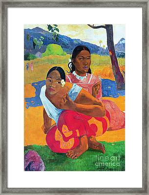 When Are You Getting Married Framed Print by Paul Gauguin