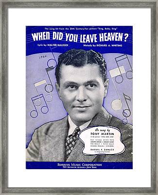 When Did You Leave Heaven Framed Print by Mel Thompson