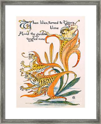 When Lilies Turned To Tiger Blaze Framed Print by Walter Crane