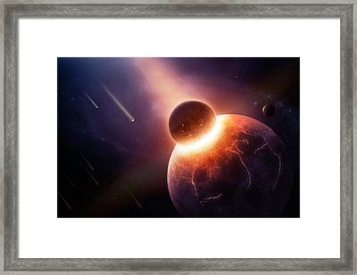 When Planets Collide Framed Print by Johan Swanepoel