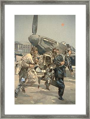 When The Bell Rings Oil On Canvas Framed Print by Peter Miller