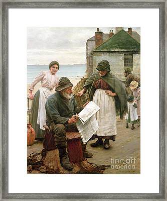 When The Boats Are Away Framed Print by Walter Langley