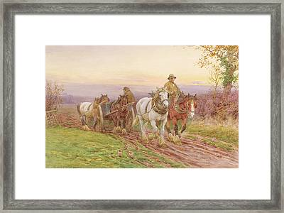 When The Days Work Is Done Framed Print by Charles James Adams