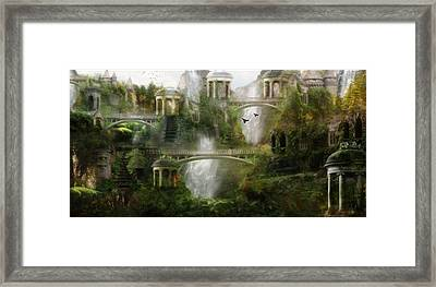 Where Elven Folk Dwell Framed Print by Mary Hood