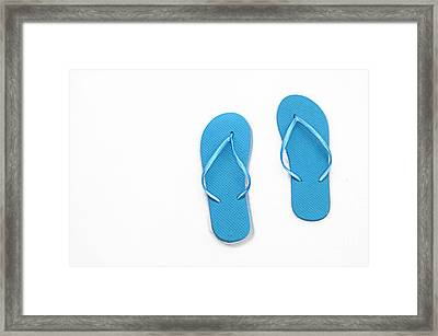 Where On Earth Is Spring - My Blue Flip Flops Are Waiting Framed Print by Andee Design