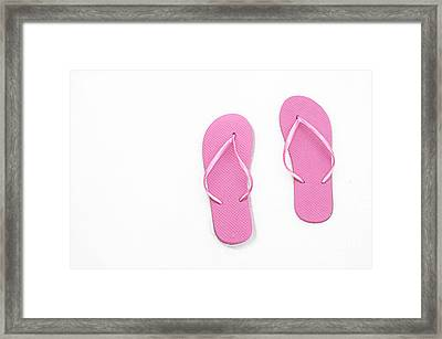 Where On Earth Is Spring - My Pink Flip Flops Are Waiting Framed Print by Andee Design