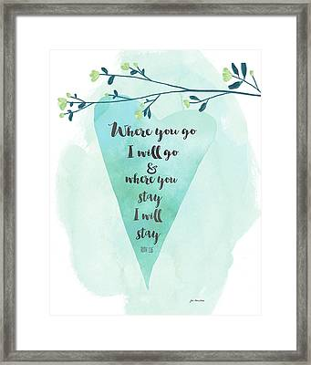 Where You Go Heart Framed Print by Jo Moulton