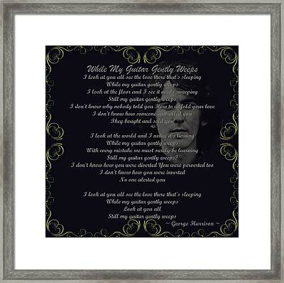 While My Guitar Gently Weeps Golden Scroll Framed Print by Movie Poster Prints