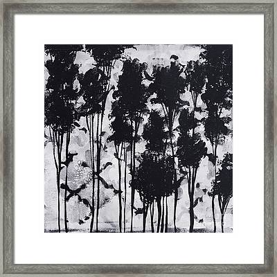 Whimsical Black And White Landscape Original Painting Decorative Contemporary Art By Madart Studios Framed Print by Megan Duncanson